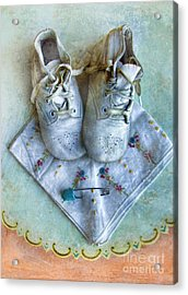Vintage Baby Shoes And Diaper Pin On Handkercheif Acrylic Print