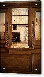Acrylic Print featuring the photograph Vintage Bank Teller Station by Valerie Garner