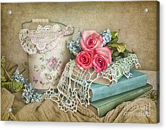 Vintage Books And Roses Acrylic Print by Cheryl Davis