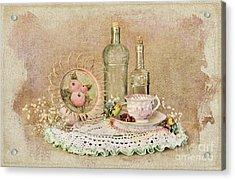 Vintage Bottles And Teacup Still-life Acrylic Print by Cheryl Davis