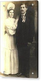 Vintage Bride And Groom Acrylic Print by Alan Espasandin