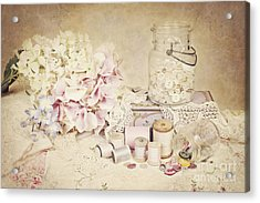 Acrylic Print featuring the photograph Vintage Buttons And Thread by Cheryl Davis