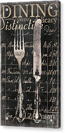 Vintage Dining Utensils In Black  Acrylic Print by Grace Pullen
