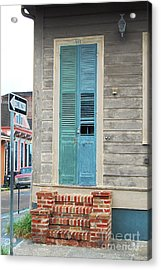 Vintage Dual Color Wooden Door And Brick Stoop French Quarter New Orleans Accented Edges Digital Art Acrylic Print by Shawn O'Brien