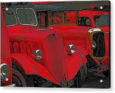 Vintage Fire Truck Techno Art Acrylic Print by Tony Grider