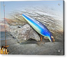 Vintage Fishing Lure - Floyd Roman Nike Blue And White Acrylic Print by Mother Nature