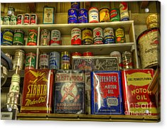 Vintage Garage Oil Cans Acrylic Print by Bob Christopher