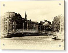 Vintage Ha'penny Bridge Acrylic Print by John Rizzuto