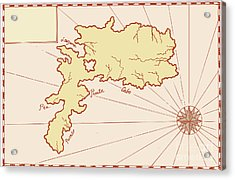 Vintage Map Of Island Acrylic Print by Aloysius Patrimonio