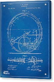 Vintage Monocycle Patent Artwork 1894 Acrylic Print by Nikki Marie Smith