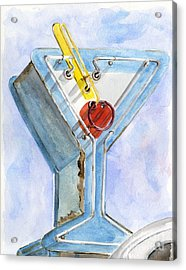 Vintage Neon- Martini Glass Acrylic Print by Sheryl Heatherly Hawkins