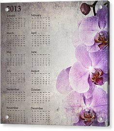 Vintage Orchid Calendar 2013 Acrylic Print by Jane Rix