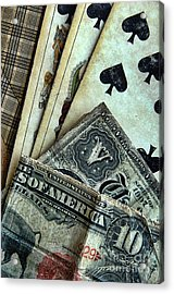 Vintage Playing Cards And Cash Acrylic Print by Jill Battaglia