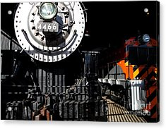 Vintage Railroad Locomotive Trains In The Train House . 7d11633 Acrylic Print by Wingsdomain Art and Photography