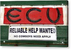 Vintage Sign For Cowboys Acrylic Print by Bob Christopher