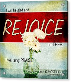 Vintage Tin - Rejoice Acrylic Print by Mary Hershberger