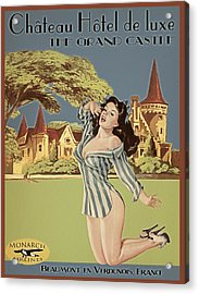 Vintage Travel Poster The Grand Castle Acrylic Print by Cinema Photography