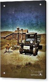 Vintage Vehicle At Vintage Gas Pumps Acrylic Print by Jill Battaglia