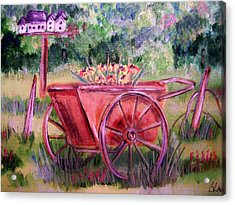Vintage Wheel Barrow Acrylic Print by Belinda Lawson