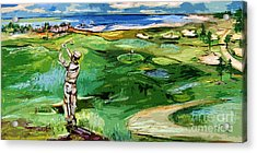 Vintge Golfer By The Sea Acrylic Print by Ginette Callaway