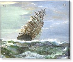 Violent Sea -oil Painting Acrylic Print by Rejeena Niaz