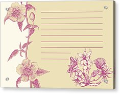 Violet Floral Card Acrylic Print