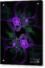 Violet Floral Edgy Abstract Acrylic Print