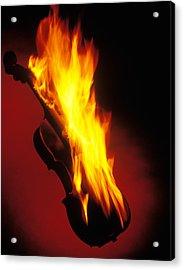 Violin On Fire Acrylic Print by Garry Gay