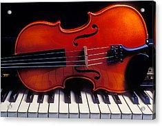 Violin On Piano Keys Acrylic Print by Garry Gay