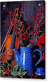 Violin With Blue Pot Acrylic Print by Garry Gay