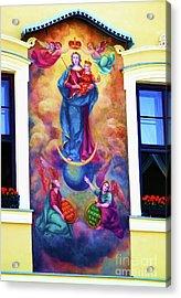 Virgin Mary Mural Acrylic Print by Mariola Bitner