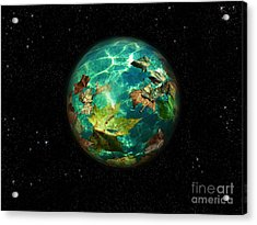 Acrylic Print featuring the digital art Viriditas World by Rosa Cobos
