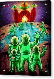 Visit The Moon Acrylic Print by Baird Hoffmire