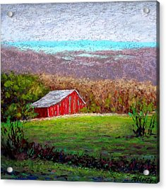 Vista With Red Barn Acrylic Print by Bob Richey