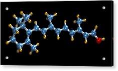Vitamin A (retinol) Molecule Acrylic Print by Dr Mark J. Winter