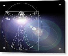 Vitruvian Man With Flare In Chest Acrylic Print by Laguna Design