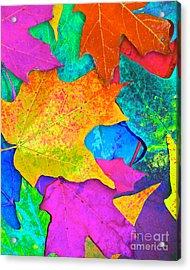 Vivid Leaves 3 Acrylic Print by Ginny Gaura