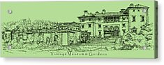 Vizcaya In Olive Green  Acrylic Print by Building  Art