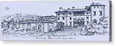 Vizcaya Museum And Gardens In Blue  Acrylic Print