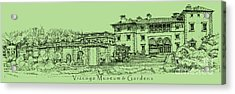 Vizcaya Museum In Olive Green Acrylic Print by Adendorff Design