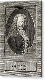 Voltaire, French Author Acrylic Print by Middle Temple Library