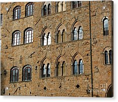 Acrylic Print featuring the photograph Volterra Wall Of Windows by Jeanne  Woods