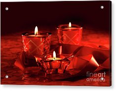 Votive Candles On Dark Red Background Acrylic Print by Sandra Cunningham