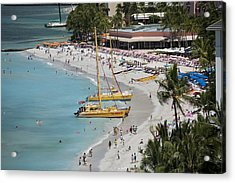 Waikiki Beach And Catamarans Acrylic Print by Peter French