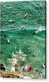 Acrylic Print featuring the photograph Waikiki Surfing by Jim Albritton