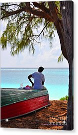 Waiting For Her Ship To Come In Acrylic Print by Li Newton