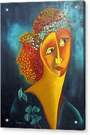 Waiting For Partner Orange Woman Blue Cubist Face Torso Tinted Hair Bold Eyes Neck Flower On Dress Acrylic Print