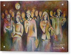 Waiting For The 6 15 Train Acrylic Print by Sandra Taylor-Hedges