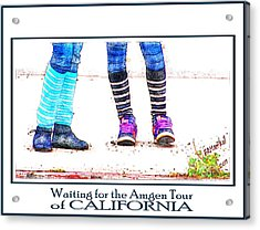 Waiting For The Amgen Tour Of California Acrylic Print by Barbara MacPhail