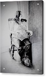 Acrylic Print featuring the drawing Waiting by Lynn Hughes